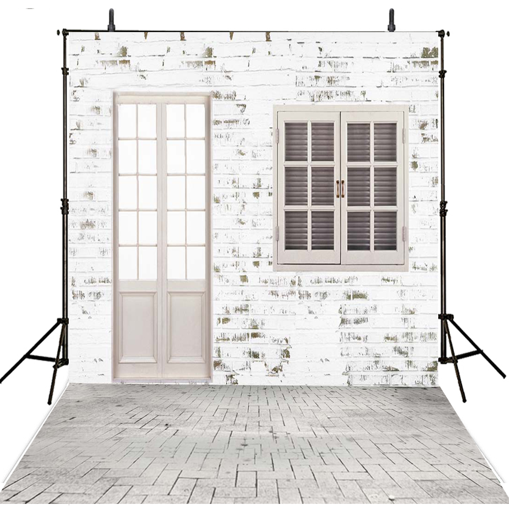 White Brick Wall Photography Backdrops Vinyl Backdrop For Photography Door Wedding Background For Photo Studio Foto Achtergrond