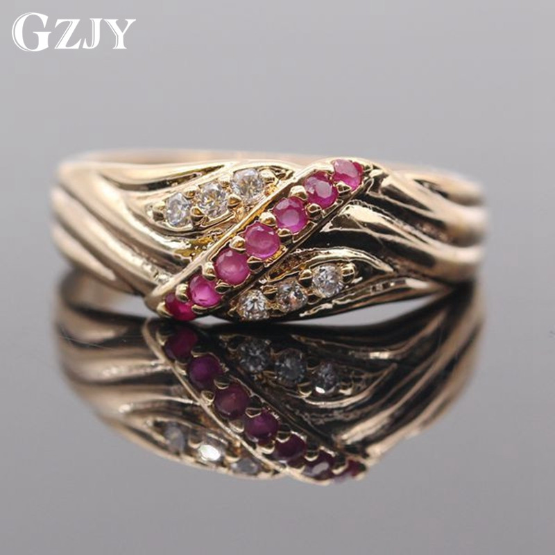 GZJY Fashion Jewelry Red AAA Cubic Zirconia Crystal Champagne Gold Color Ring For Women Valentine&39;s Day Gift G09-2