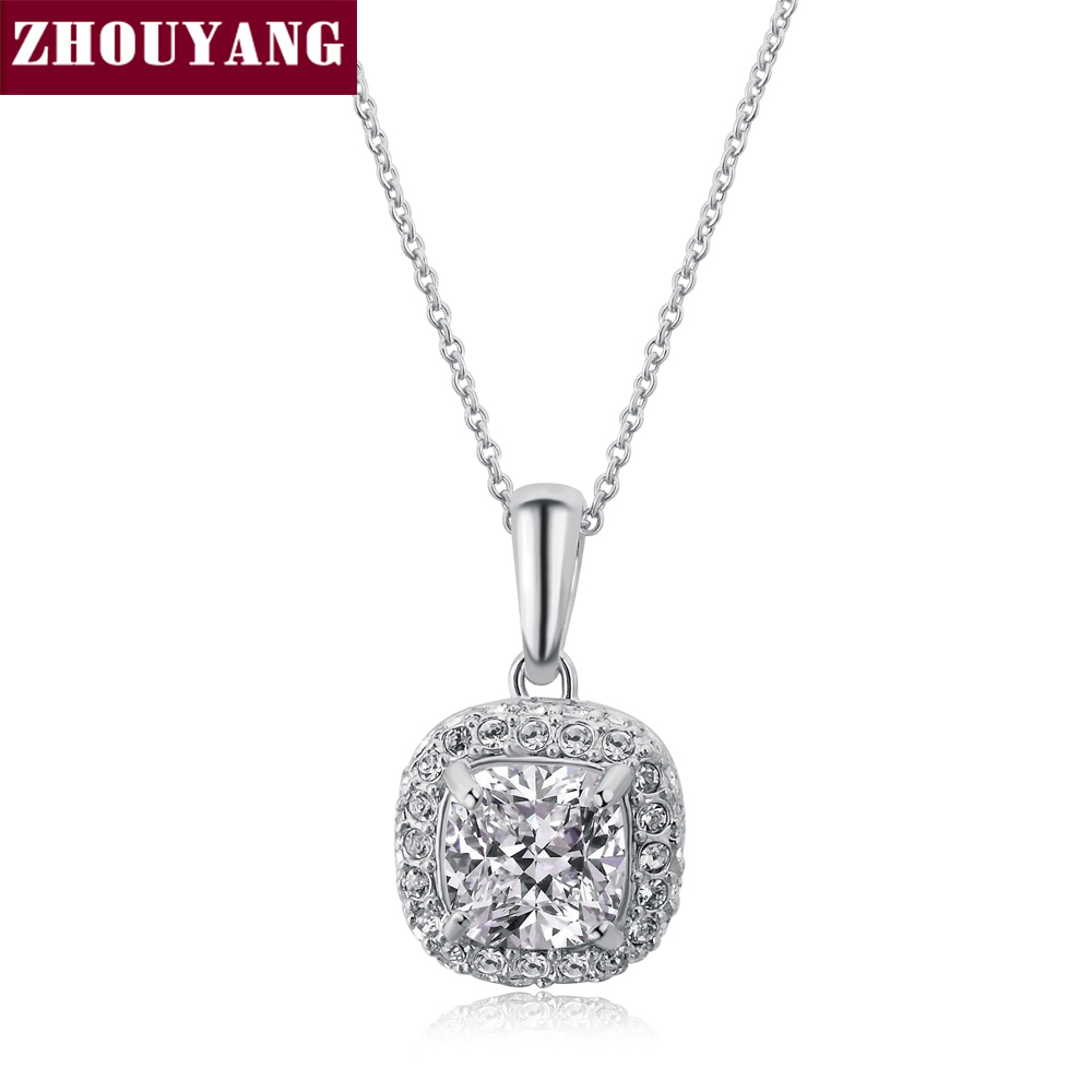 ZHOUYANG ZYN111 Classic Crystal Necklaces Silver Color Fashion Pendant Jewelry Made with Austria Crystal Wholesale