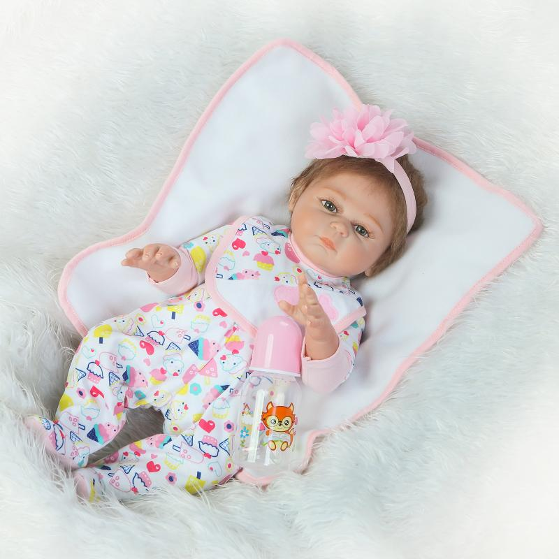 Realistic 20&39;&39; Full Silicone Reborn Baby Dolls Soft Stuffed Plush Newborn Dolls Dressed Cartoon Cloth Suit for Girl Kids Gifts