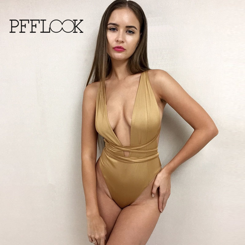 Pfflook New!swimming Maillot De Bain Femme 2017 Swimsuit Solid Bandage High Waist One-piece Bathing Biquini Mulher Bodysuit