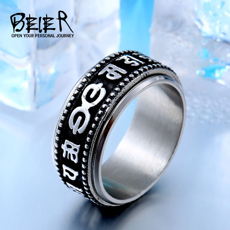 BEIER drop shipping stainless steel Unique Jewelry for man Six Words Suatra Ring BR8-444